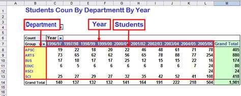 pivot tables sample data